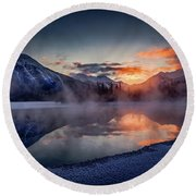 Sunset, Vermilion Lakes Round Beach Towel