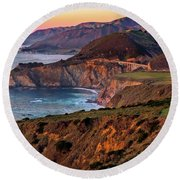 Sunset View From Hurricane Point Round Beach Towel