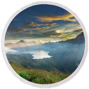Sunset View From Mt Rinjani Crater Round Beach Towel
