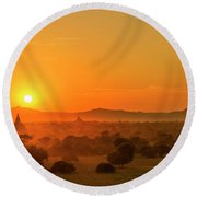 Sunset View Of Bagan Pagoda Round Beach Towel