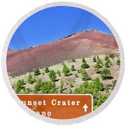 Sunset Crater Volcano Round Beach Towel