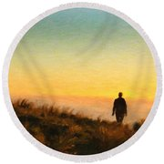 Sunset Walk Round Beach Towel
