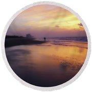 Sunset Walk On Myrtle Beach Round Beach Towel