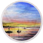 Sunset Watercolor Downtown Kirkland Round Beach Towel by Olga Shvartsur