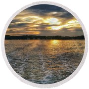 Round Beach Towel featuring the photograph Sunset Waters by Nikki McInnes