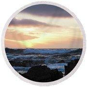 Sunset Waves, Asilomar Beach, Pacific Grove, California #30431 Round Beach Towel