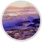 Sunset, West Oahu Round Beach Towel
