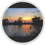 Sunset West Of Myer's Bagels Round Beach Towel