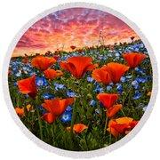 Sunset Wildflowers Round Beach Towel