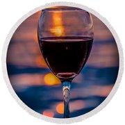 Sunset Wine Round Beach Towel