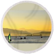 Sunset With Green Sailboat Round Beach Towel