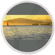 Sunset With Red Sailboat Round Beach Towel
