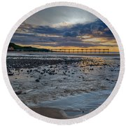 Sunset With Saltburn Pier Round Beach Towel by Gary Eason