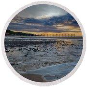 Sunset With Saltburn Pier Round Beach Towel