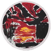 Sunset With Swan Round Beach Towel