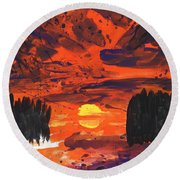 Sunset Without Swan Round Beach Towel