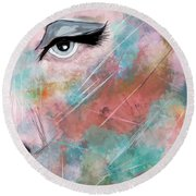 Sunset - Woman Abstract Art Round Beach Towel
