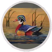 Sunset Wood Duck Round Beach Towel