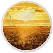 Sunsets And Golden Turbines Round Beach Towel