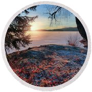 Sunsets Creates Magic Round Beach Towel by Rose-Marie Karlsen