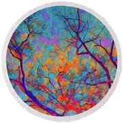 Sunsets Embrace Round Beach Towel