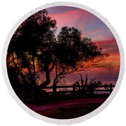 Sunset Silhouettes From Palisades Park Round Beach Towel