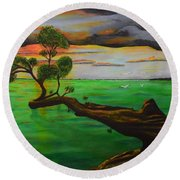 Round Beach Towel featuring the painting Sunsetting by Melvin Turner