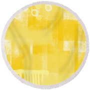 Sunshine- Abstract Art Round Beach Towel