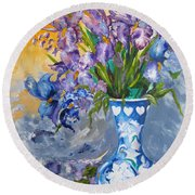 Sunshine And Flowers Round Beach Towel
