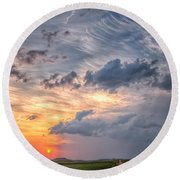 Round Beach Towel featuring the photograph Sunshine And Storm Clouds by Fiskr Larsen