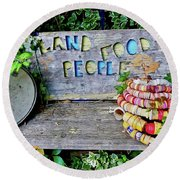 Round Beach Towel featuring the painting Sunshine Bench by Joan Reese