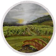 Sunshine Bridge At The Cartecay Vineyard - Ellijay Ga - Vintner's Choice Round Beach Towel by Jan Dappen