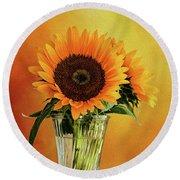 Sunshine In A Vase Round Beach Towel by Diane Schuster