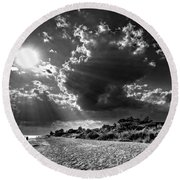 Round Beach Towel featuring the photograph Sunshine On Sanibel Island In Black And White by Chrystal Mimbs