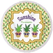 Sunshine Pineapples Round Beach Towel by MM Anderson