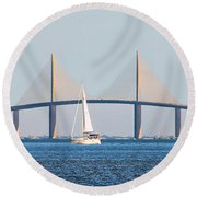 Sunshine Skyway Bridge #2 Round Beach Towel