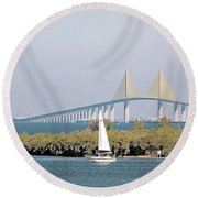 Sunshine Skyway Bridge Round Beach Towel