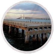 Sunshine Skyway, Old And New Round Beach Towel