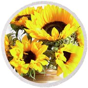 Sunshine Sunflowers Round Beach Towel