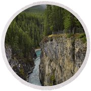 Sunwapta Falls Canyon Round Beach Towel