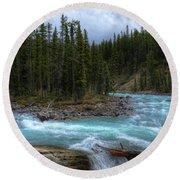 Sunwapta Falls Jasper National Park Alberta Canada Round Beach Towel