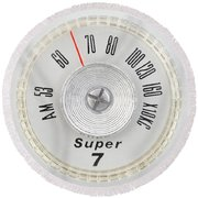 Super 7 Portable Radio Dial Round Beach Towel by Jim Hughes