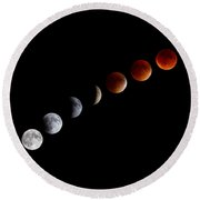 Super Blood Moon Eclipse Round Beach Towel by Brian Caldwell