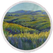Super Bloom 3 Round Beach Towel