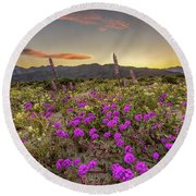 Super Bloom Sunset Round Beach Towel by Peter Tellone