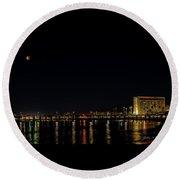Super Blue Blood Moon Over Ventura, California Pier  Round Beach Towel