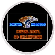 Round Beach Towel featuring the photograph Super Bowl 50 Champions by Shane Bechler