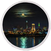 Super Full Moon Over Cleveland Round Beach Towel