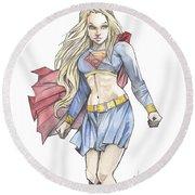 Super Girl Round Beach Towel by Jimmy Adams