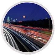 Super Moon And Dallas Texas Skyline Round Beach Towel